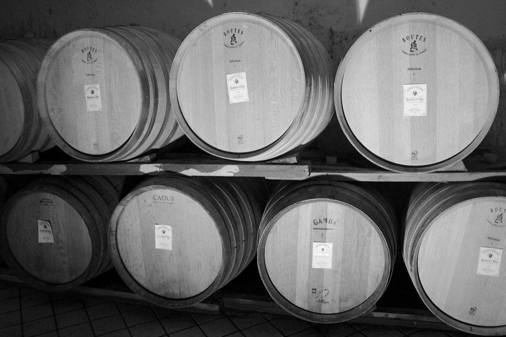 cantina con botti di vino in fase di invecchiamento