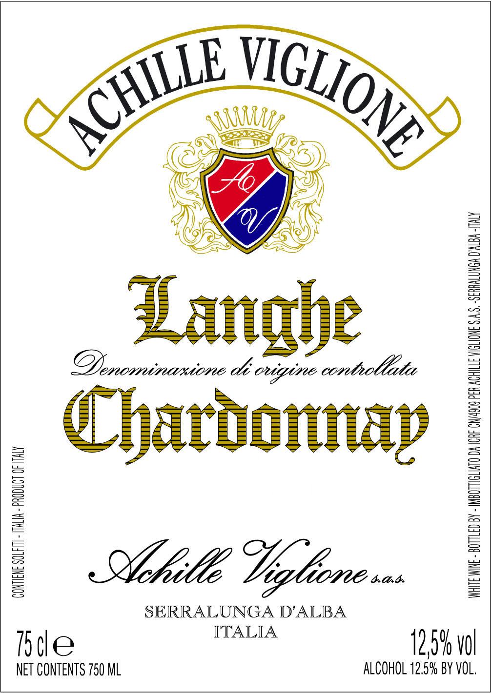 Etichetta vino bianco Langhe Chardonnay Achille Viglione
