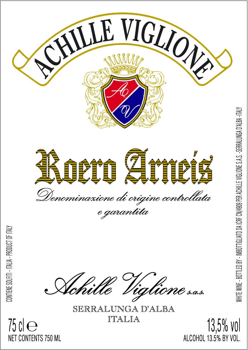Etichetta vino bianco Roero Arneis Achille Viglione