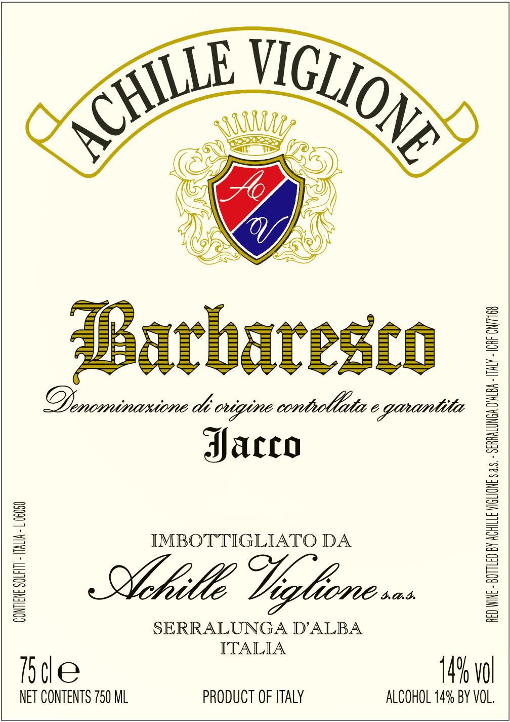 Etichetta vino rosso Barbaresco Jacco Achille Viglione