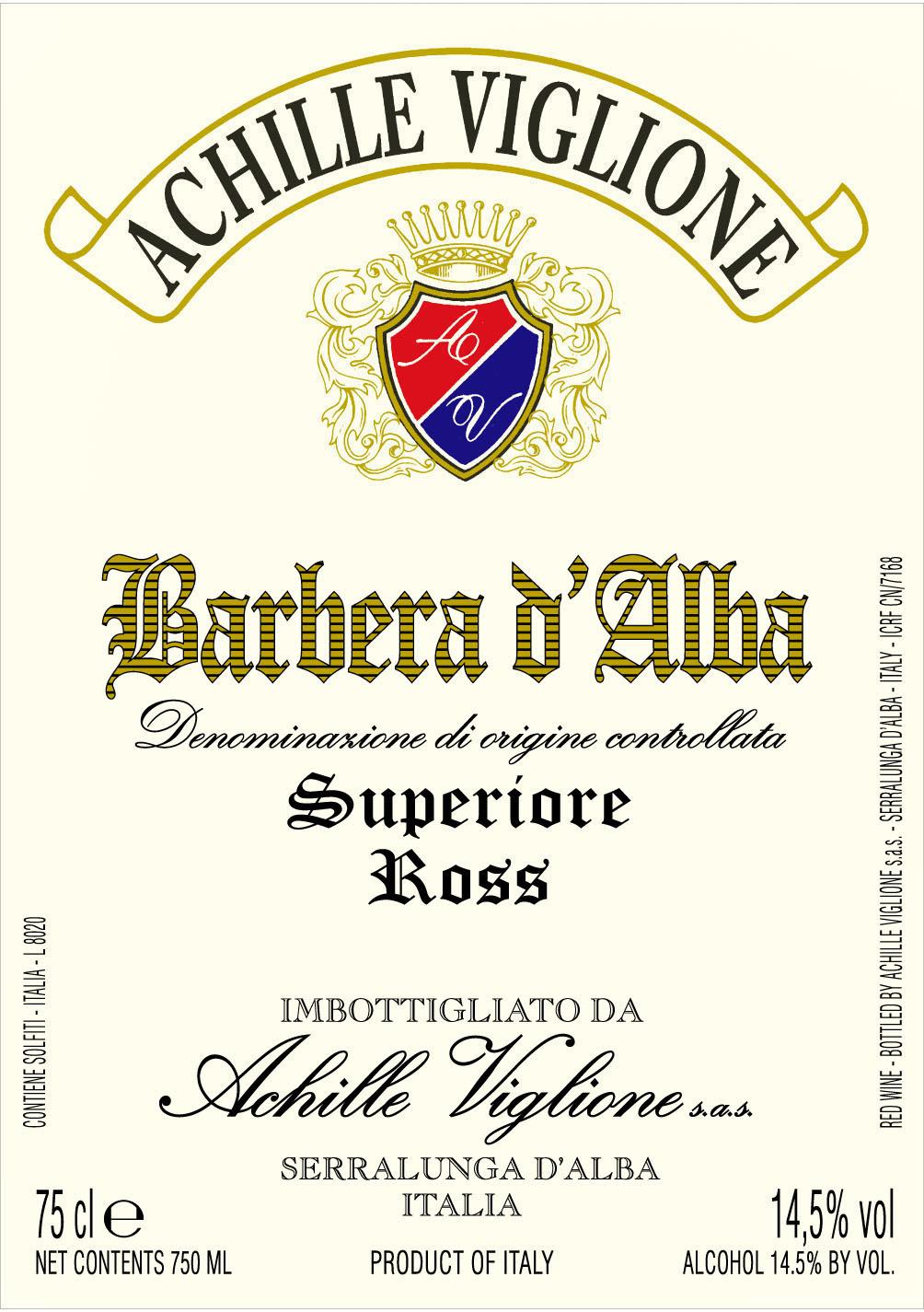 Etichetta vino rosso Barbera d'Alba Ross Achille Viglione