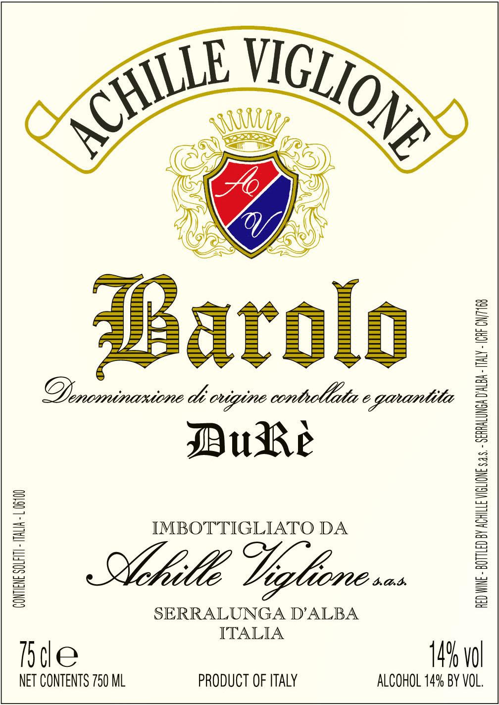 Etichetta vino rosso Barolo Durè Achille Viglione