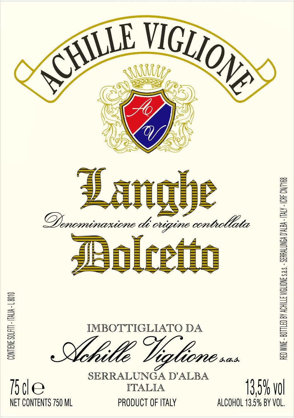 Etichetta vino rosso Langhe Dolcetto Achille Viglione