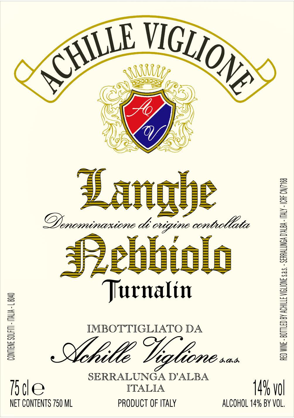 Etichetta vino bianco Langhe Nebbiolo Turnalin Achille Viglione