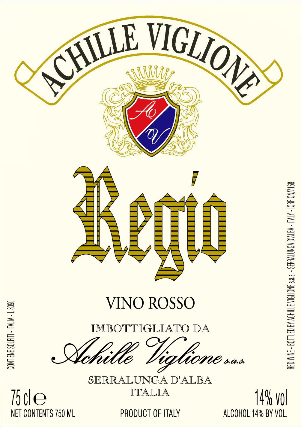 Etichetta vino rosso Regio Achille Viglione
